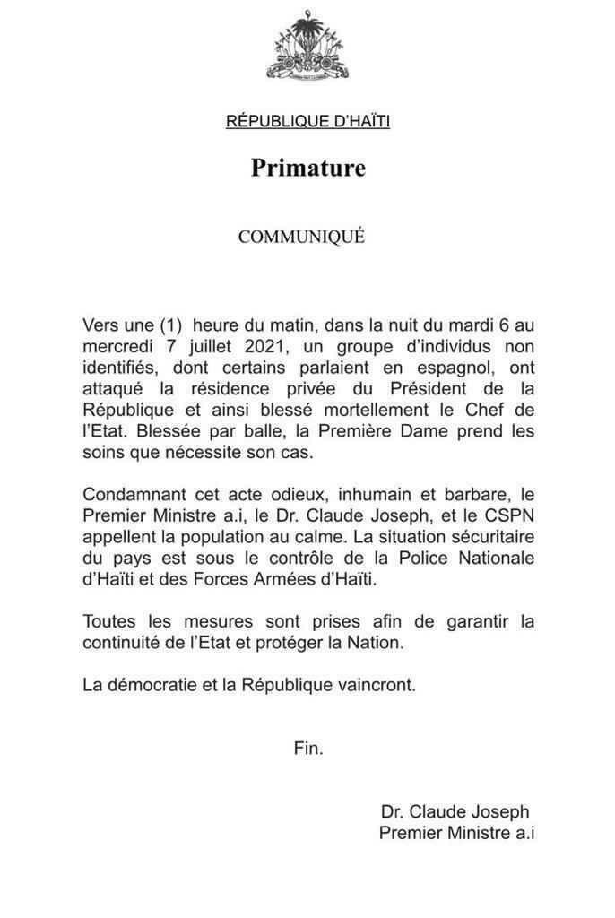 Communiqué du Premier ministre haitien annonçant l'assassinat du président Jovenel Moïse. © DR