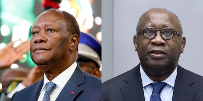 Alassane Ouattara, actuelle président ivoirien et son prédécesseur Laurent Gbagbo