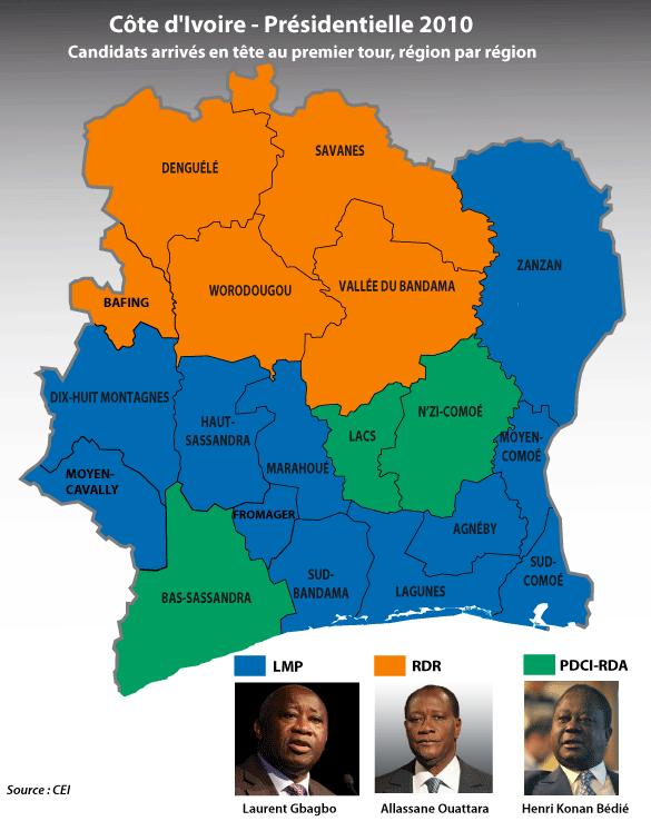Carte électorale de Côte d'Ivoire 2010