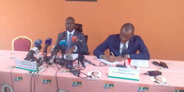 Adama Bictogo, directeur exécutif du RHDP et Mamadou TOURÉ est le directeur exécutif adjoint chargé de la Communication du RHDP et porte-parole adjoint.