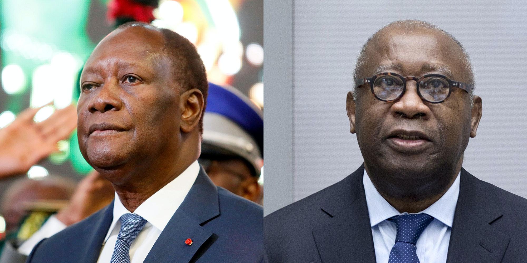L'actuel président de la Côte d'ivoire Alassane Ouattara et son prédécesseur Laurent Gbagbo