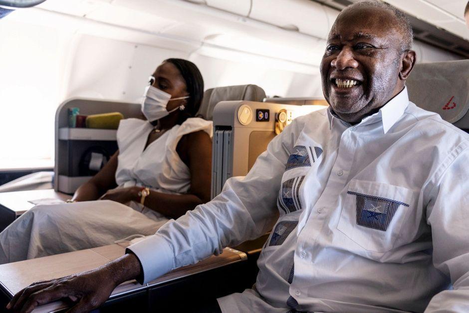 Avec Laurent Gbagbo, de retour à Abidjan, credit photo  Paris Match